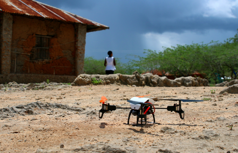 The Sentinel Project demonstration drone prepares to take flight ahead of thunderstorms in Kibusu, Tana River County, Kenya